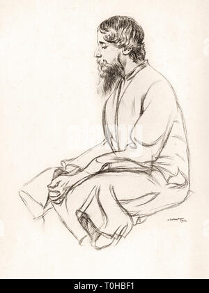 old vintage photo of Rabindranath Tagore - Stock Photo