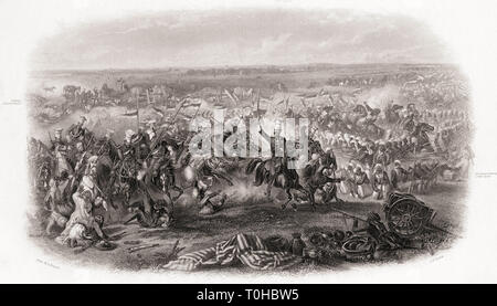 old vintage photo of Battle of Aliwal 1846 - Stock Photo