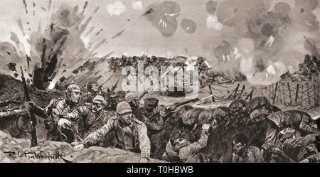 Victorious attack of British and Indian troops, during First World War - Stock Photo