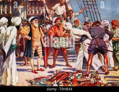 Merchants of Calicut held as hostages by Vasco Da Gama during voyage - Stock Photo