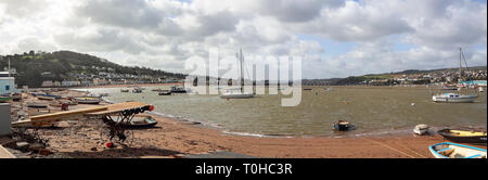 Teignmouth back beach looking up the River Teign PANORAMA - Stock Photo