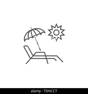 Chaise Lounge Icon. Chaise Lounge Related Vector Line Icon. Isolated on White Background. Editable Stroke. - Stock Photo