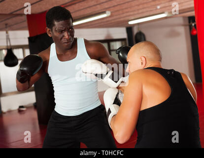 Sparring two adut boxers in the gym. Battle of two boxers - Stock Photo