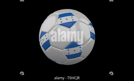 Soccer ball with flag Honduras colors rotates on black background, 3d rendering - Stock Photo