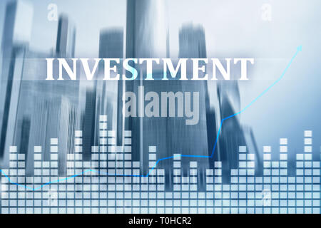 Investment, ROI, financial market concept. City background. - Stock Photo