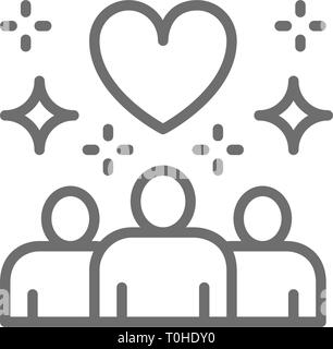 People with big heart shape, donations, volunteering, friendly, charity, love line icon. - Stock Photo