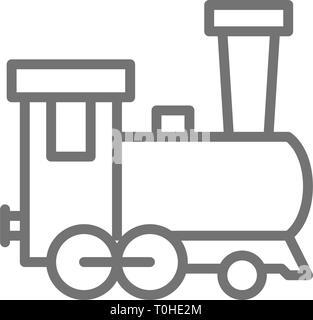 Old locomotive, train, railroad line icon. - Stock Photo