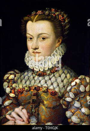 Elisabeth of Austria Queen and wife of King Charles IX by Francois Clouet 1505-1572, French France. - Stock Photo