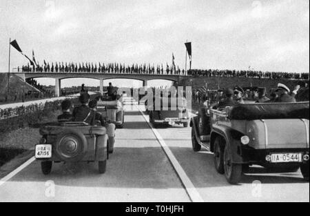 Nazism / National Socialism, architecture, motorway construction, opening of the route Munich - frontier of the Reich, arrival of Chancellor of the Reich Adolf Hitler, 1938, Additional-Rights-Clearance-Info-Not-Available - Stock Photo