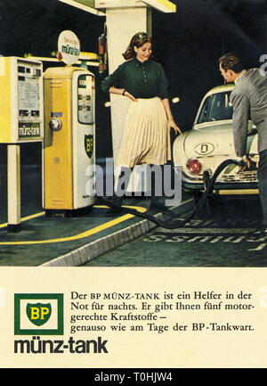 advertising, transport / transportation, car, petrol station, advertising for BP coin tank, at night fuel, couple with Ford Taunus, Germany, 1965, Additional-Rights-Clearance-Info-Not-Available - Stock Photo