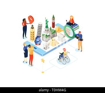 Travel around the world - colorful isometric illustration - Stock Photo