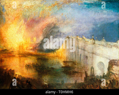 JMW Turner, The Burning of the Houses of Lords and Commons, painting, c. 1834 - Stock Photo