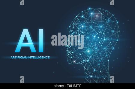 Artificial intelligence, AI concept, neural networks, face silhouette - Stock Photo