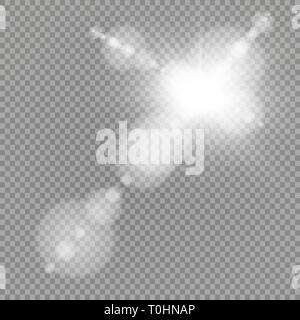 Vector transparent sunlight special lens flare light effect. Sun flash with rays and spotlight - Stock Photo