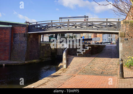 Lock number one at Cambrian Wharf in the centre of Birmingham - Stock Photo