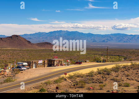 Aerial view of the historic route 66 and the Cool Springs gas station in Arizona - Stock Photo
