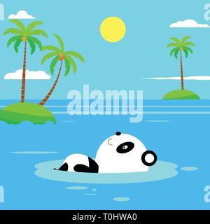Flat panda swimming on the beach. Flat Summer Background design. Vector Beach Landscape - Stock Photo