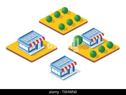 Isometric 3D shop - Stock Photo