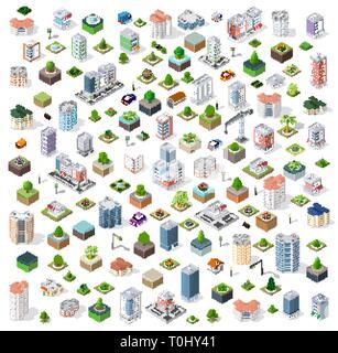 Isometric city set street - Stock Photo