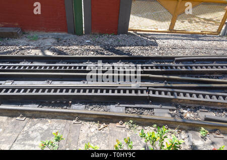 close-up of train line details - Stock Photo
