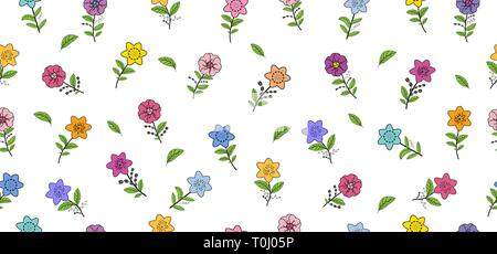 Seamless pattern with different spring flowers. Isolated elements on a white background. Vector hand drawing illustration. - Stock Photo