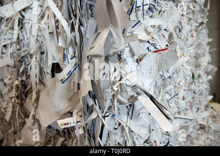 Stacked paper bales for recycling - Stock Photo