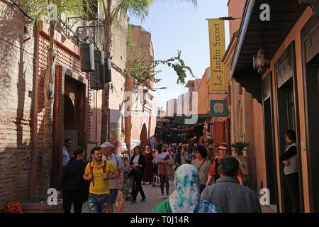 Café Arabe and Le Jardin Secret, Rue Mouassine, Medina, Marrakesh, Marrakesh-Safi region, Morocco, north Africa - Stock Photo
