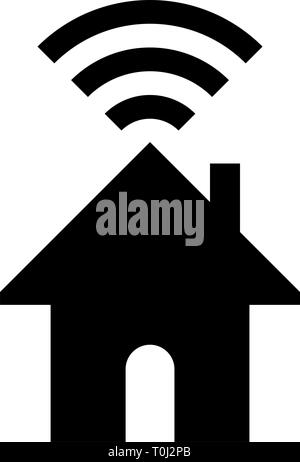 Home wifi symbol icon - black simple, isolated - vector illustration - Stock Photo