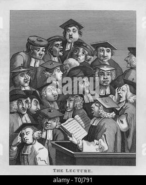 """'The Lecture', 1808, (1827). A group of Oxford scholars listen to William Fisher, Registrar of the University. Engraving after 'Scholars at a lecture' of 1736 by Hogarth. [Longman, Hurst, Rees & Orme, London, 1808]. From """"The Works of Wiliam Hogarth"""", Volume II, by The Rev. John Trusler. [J. Goodwin, London, 1827] - Stock Photo"""