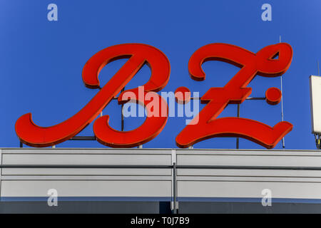 BZ, logo, advertisement, European centre, place Breitscheid, Charlottenburg, Berlin, Germany, Logo, Werbung, Europacenter, Breitscheidplatz, Deutschla - Stock Photo