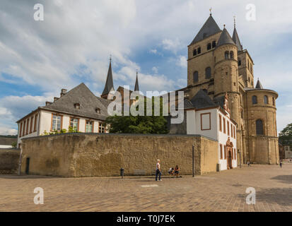 Trier, Germany - located on the banks of Moselle river, Trier is known for its well-preserved Roman and medieval buildings - Stock Photo