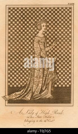 'A Lady of High Rank, in her State Habit, belonging to the 14th Century'. A medieval noblewoman wearing a crown, an elaborate netted hairstyle, and a patterned dress with a train and floor-length slit sleeves. - Stock Photo