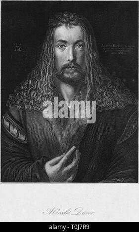 'Albrecht Durer', (c1852). Portrait of Albrecht Durer (1471-1528), German Northern Renaissance painter and engraver. Engraving after 'Self-Portrait at the Age of Twenty Eight', painting in the Alte Pinakothek, Munich, Germany. - Stock Photo