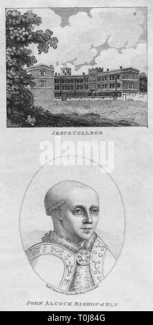 'Jesus College; John Alcock Bishop of Ely', 1801. View of Jesus College, Cambridge, and a portrait of its founder, John Alcock (c1430-1500), English churchman, bishop and Lord Chancellor. [Edward Harding, London, 1801] - Stock Photo