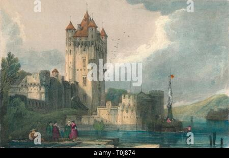 'The Gothic Towers of Ellfeld', c1834. Creator: Edward John Roberts. - Stock Photo