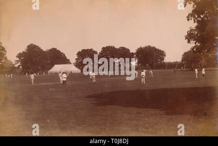 Cricket match, late 19th-early 20th century.  Creator: Unknown. - Stock Photo