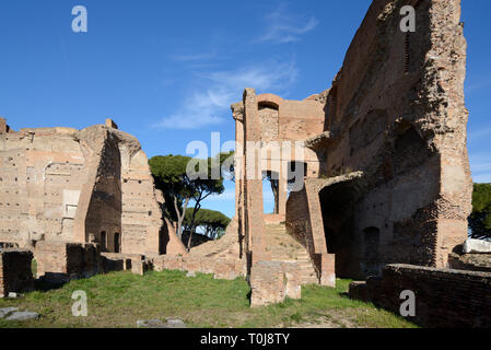 Ruins of the Severan Complex, or Domus Severiana, the last extension of the Imperial Palaces on Palatine Hill, Rome Italy - Stock Photo