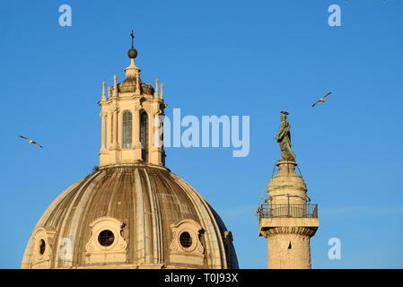 Roof Lantern, Roof Tower, Cupola or Skylight on Dome of Church of Santa Maria di Loreto (1507) & Trajan's Column (AD113) on Piazza Venezia Rome Italy - Stock Photo
