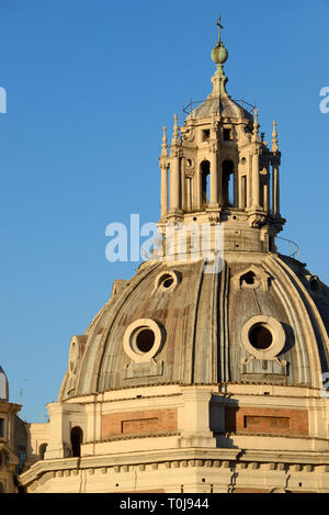 Cupola-Shaped Roof Lantern, Roof Tower, Roof Cupola or Skylight on Dome of Church of Santa Maria di Loreto (1507) on Piazza Venezia Rome Italy - Stock Photo