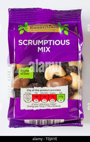 Bag of Snacking Essentials Scrumptious Mix isolated on white background - mix of raisins, peanuts, cranberries, almonds and cashew nuts - Stock Photo
