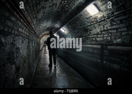 Tunnel at the Crumlin Road Gaol, Belfast, Northern Ireland, linking the gaol to the courthouse. - Stock Photo