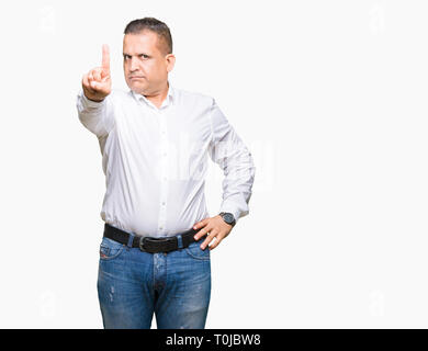 Middle age arab elegant man over isolated background Pointing with finger up and angry expression - Stock Photo