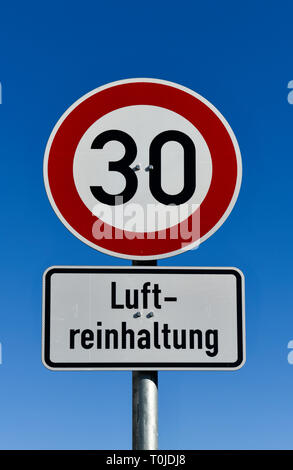 Street sign Aerial pure position tempo 30, Straßenschild Luftreinhaltung Tempo 30 - Stock Photo