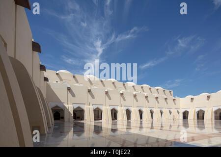 courtyard, Imam Muhammad ibn Abd al-Wahhab Mosque, Doha (the Qatar State Mosque). - Stock Photo