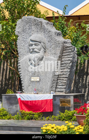 Monument and carving of the respected Polish Kazimierz Kwiatkowski, practically forgotten in his homeland, was known and respected in Vietnam. - Stock Photo