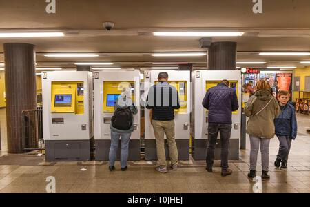 Ticket machines, railway station zoological garden, Charlottenburg, Berlin, Germany, Ticketautomaten, Bahnhof Zoologischer Garten, Deutschland - Stock Photo