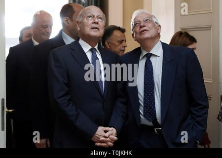 Madrid, Spain. 20th Mar, 2019. Spanish Foreign Minister, Josep Borrell (R), meets General Secretary of the Arab League, Ahmed Aboul Gheit (L), at Viana Palace in Madrid, Spain, 20 March 2019. Credit: Mariscal/EFE/Alamy Live News - Stock Photo