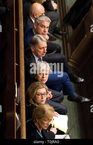 London, UK. 20th Mar, 2019. British Prime Minister Theresa May (3rd from Bottom) attends the Prime Minister's Question Time in the House of Commons in London, Britain, on March 20, 2019. Theresa May confirmed Wednesday she has written to the European Union seeking to delay Britain's departure from the bloc until June 30. Credit: UK Parliament/Mark Duffy/Xinhua/Alamy Live News - Stock Photo