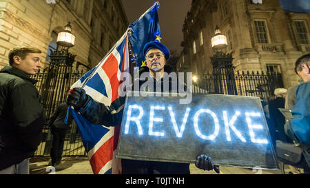 London, UK. 20th Mar, 2019. Pro-Remain protesters outside Downing Street. Inside Number 10, Theresa May, Prime Minister is making a statement to the nation about Brexit. Credit: Stephen Chung/Alamy Live News - Stock Photo