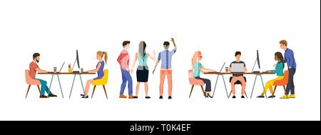 A group of casual business people working in an office as a team. Vector illustration. - Stock Photo